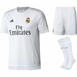 d011f5849a4 100% Authentic Adidas Kid s Real Madrid Home Full Kit 2015 16