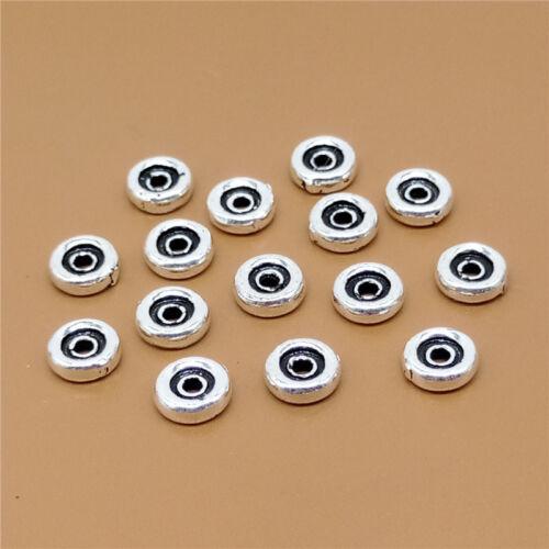 Argent Sterling 8 Donut Spacer Beads 925 Argent Pour Bracelet Collier