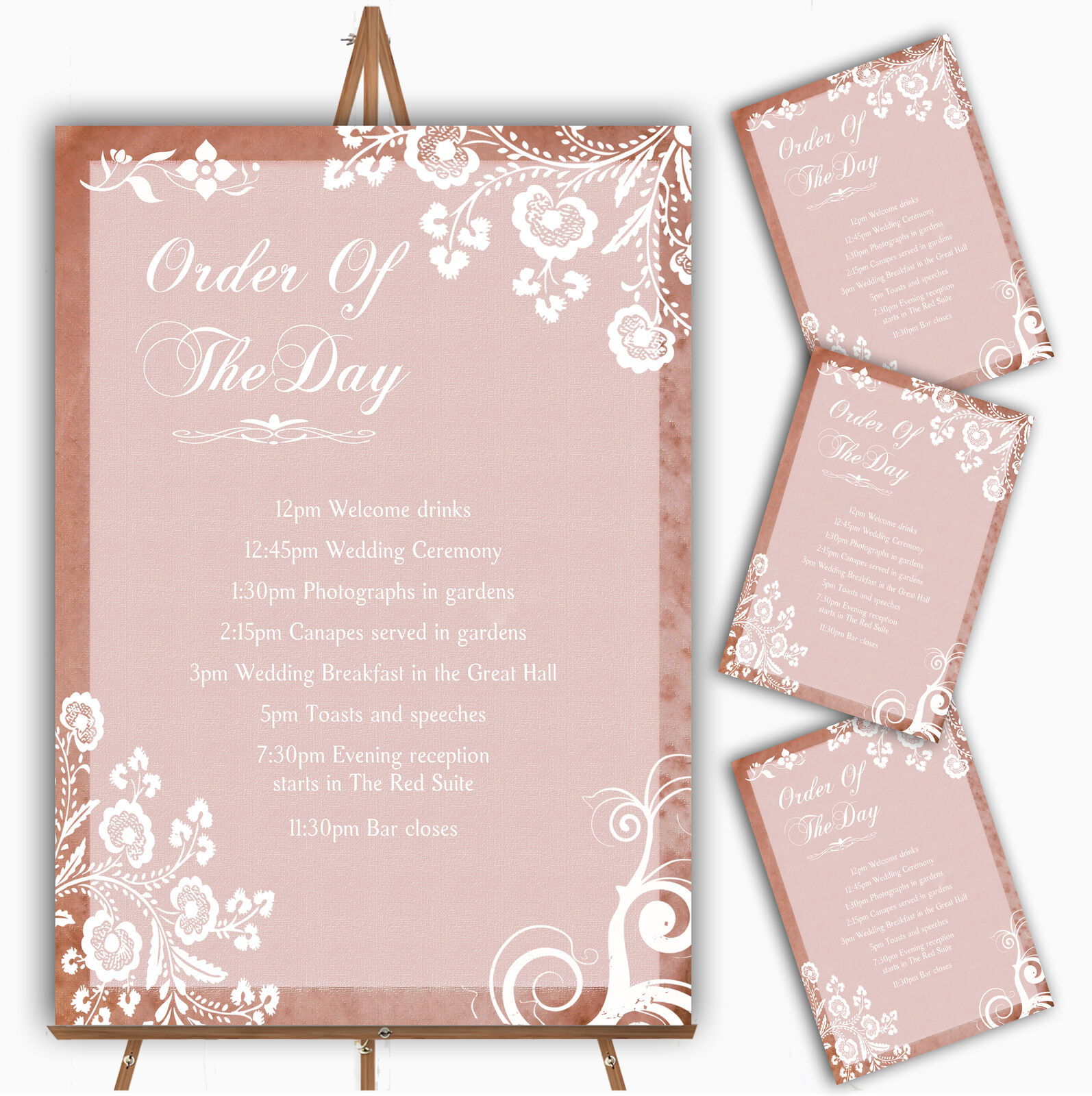 Rustic Blaush Lace Personalised Wedding Order Of The Day Cards & Signs