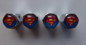 4-Tyre-Metal-Valve-Caps-Superman-Tire-Car-Chrome-Set-Stem-Air-Dust-Bike