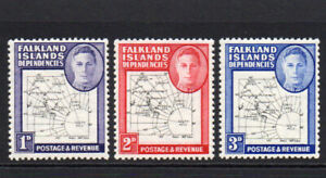 Falkland-Islands-3-Thin-Map-Stamps-c1946-49-Mounted-Mint-Hinged-6242