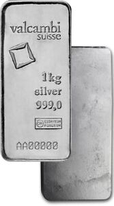 Valcambi Suisse 1 Kilo .999 Fine Silver Bar NEW With Assay Card