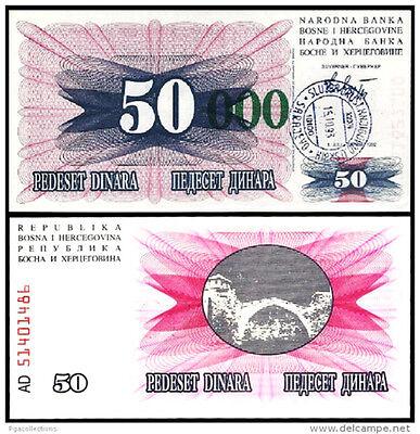 BOSNIA HERZEGOVINA 50000 DINARA 1993 UNC 5 PCS CONSECUTIVE LOT P-150 PREFIX A