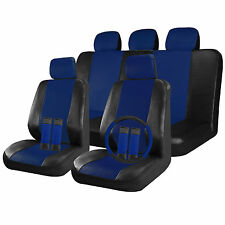 Faux Leather Car Seat Covers Black / Blue 17pc Full Set w/ Steering Wheel