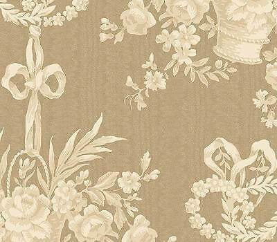 1 Double Roll - Cottage Chic Basket Toile Cream Brown Taupe Designer Wallpaper