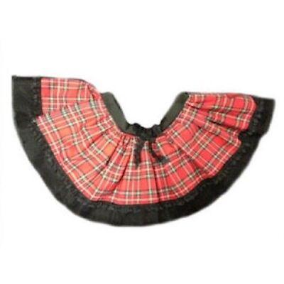 GOTHIC RED TARTAN TUTU SKIRT PUNK BURNS NIGHT 80s FANCY DRESS ALL SIZES Costume