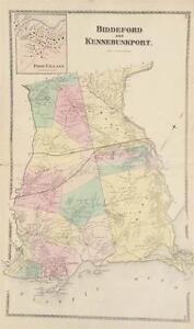 Antique Map Kennebunkport Biddeford Maine Sanford Everts York County 1872 Ebay