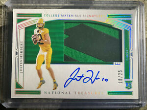 2020 Justin Herbert National Treasures Rookie ON CARD Auto RPA RC Chargers /25