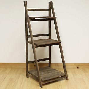 3 Tier Brown Ladder Shelf Display Unit Free