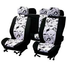 UNIVERSAL CAR SEAT COVER SET black Flower white Washable Airbag Compatible