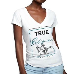 True-Religion-Women-039-s-Crystal-Embellished-Buddha-Deep-V-Neck-Tee-T-Shirt