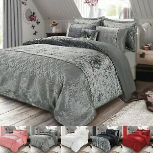 3 Piece Crushed Velvet Bedspread Quilted Bed Throw Double King Size Bedding Set