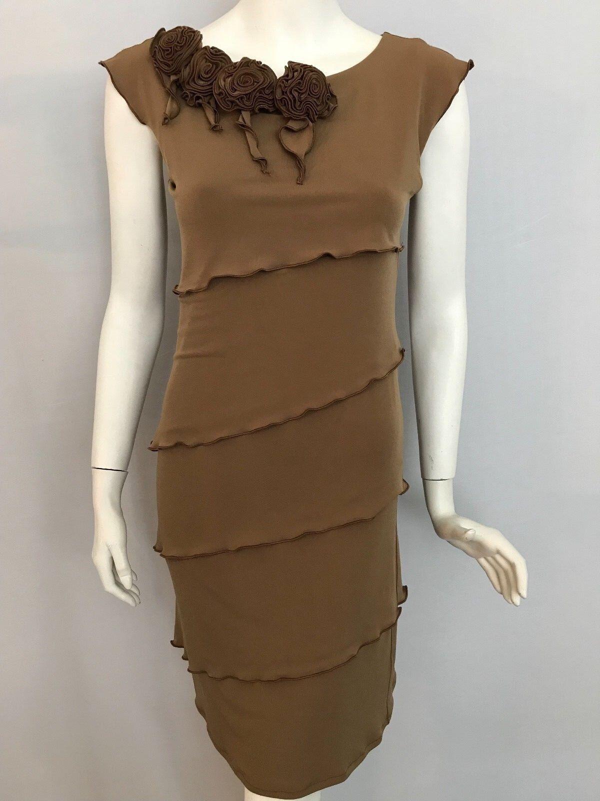EVA VARRO NWT Camel Sleeveless Tiered Ruffled Double Layer Dress Size Small NEW