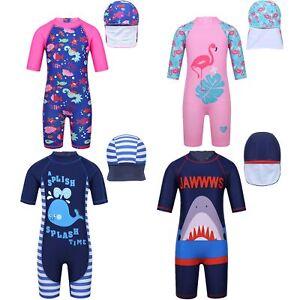 Kids-Girls-Boys-Swimsuit-Zipper-Bathing-Swimwear-Hat-Rash-Guard-Surfing-UPF-50