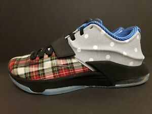 half off d7f09 8690c Details about New Nike KD VII EXT Canvas QS - Sz 10 - 726439-600 Plaid  Polka Dots What The 7