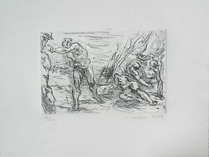 Harry Carmean baroque composition print etching of figures has a few smudges