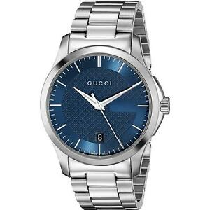8729ab5dc09 New Gucci G-Timeless Blue Dial Stainless Steel YA126440 Swiss 38mm ...