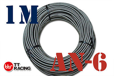 """AN6 6AN AN -6 (8.3MM / 3/8"""" ID) STAINLESS STEEL BRAIDED FUEL OIL WATER HOSE 1M"""