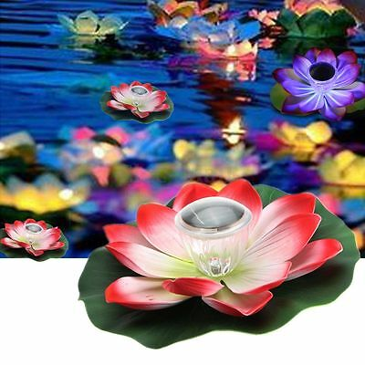 7 Color Solar LED Lotus Light Flower Night Lamp Floating Float Pond Garden Pool