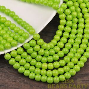 Hot-30pcs-8mm-Round-Glass-Loose-Spacer-Beads-Jewelry-Findings-Green