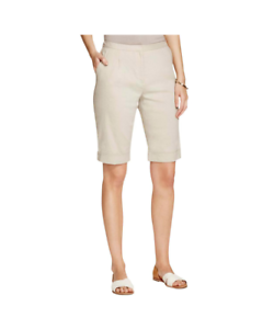 NWT Elie Tahari Womens City Bermuda Shorts Linen Blend Pleated Size  4 Clr  Sand