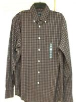 Lands' End Mens Button Down Plaid No-iron Shirt, Size Small14-14 1/2, $49