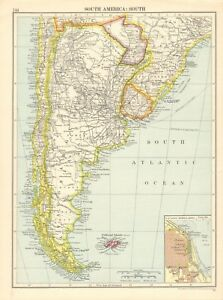 1925 ca MAP - SOUTH AMERICA SOUTH, FALKLAND ISLES, INSET BUENOS AIRES