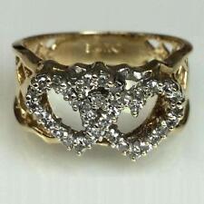 **14KT YELLOW GOLD-DIAMONDS 0.50 CTTW INTERLOCKED HEARTS LADIES RING**