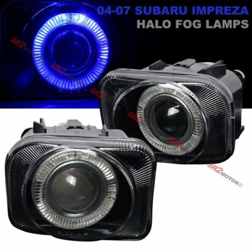 Blue LED DRL Halo Replacement Projector Fog Lights Lamps Kit Fits 04-07 Impreza
