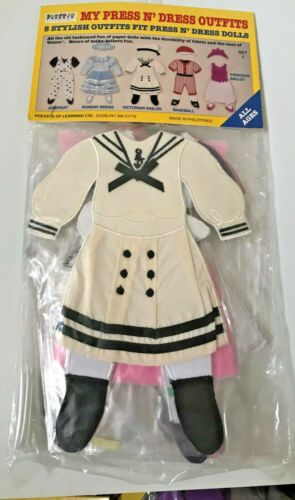 Vintage Pockets Of Learning Press N Dress Doll 5 Outfits Set#1 NEW