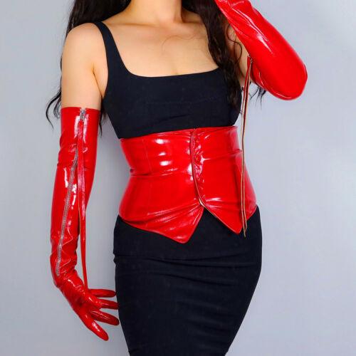LATEX BOLERO GLOVES Shine Leather Faux Patent Red Top Jacket Cropped Shrug UV