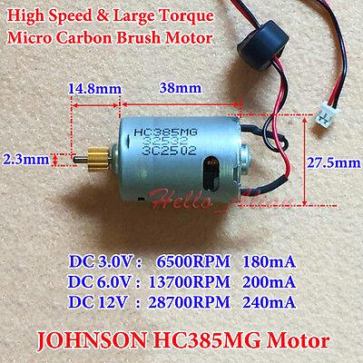 JOHNSON RS-385 DC 6v~18v 12v 11500rpm High Speed Dual Shaft  DC Mini Motor