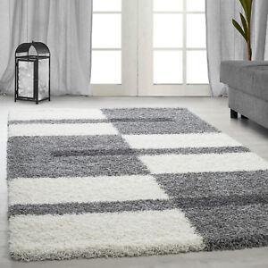 details sur poil long tapis shaggy tapis salon poils longs gris clair blanc