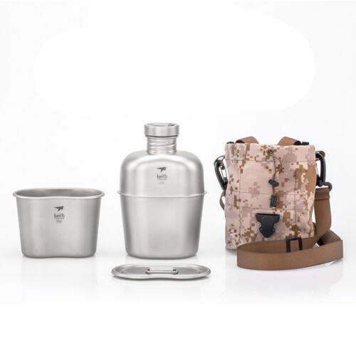 Kit de intestino lío de titanio de Campamento Vajilla Agua Taza Taza Con Bolsa 160g+128g peso