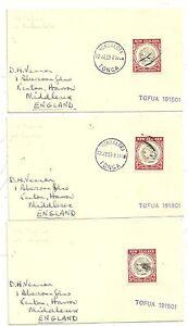 1959 3 x NUKUALOFA TONGA MARITIME COVERS TO UK MV TOFUA NEW ZEALAND STAMPS