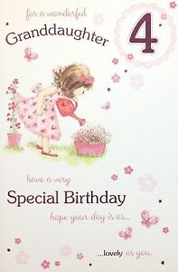 Image Is Loading Granddaughter Age 4 4th Happy Birthday Card Luxury