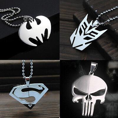 Edelstahl Herren Halskette Anhänger Geschenk Superhero batman superman Kette