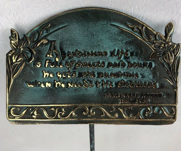 """Brass Garden Sign with Stake """"A Gardeners Life Is Full Is Sweets & Sours..."""