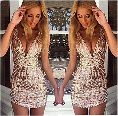 New Sexy Woman Rose Gold Sequin V-NECK Sleeveless Mini Bodycon Party Club Dress