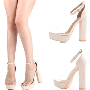 c6079b75a98 Nude Open Toe Clear Lucite Band Ankle Strap Sky Chunky Heel Platform ...