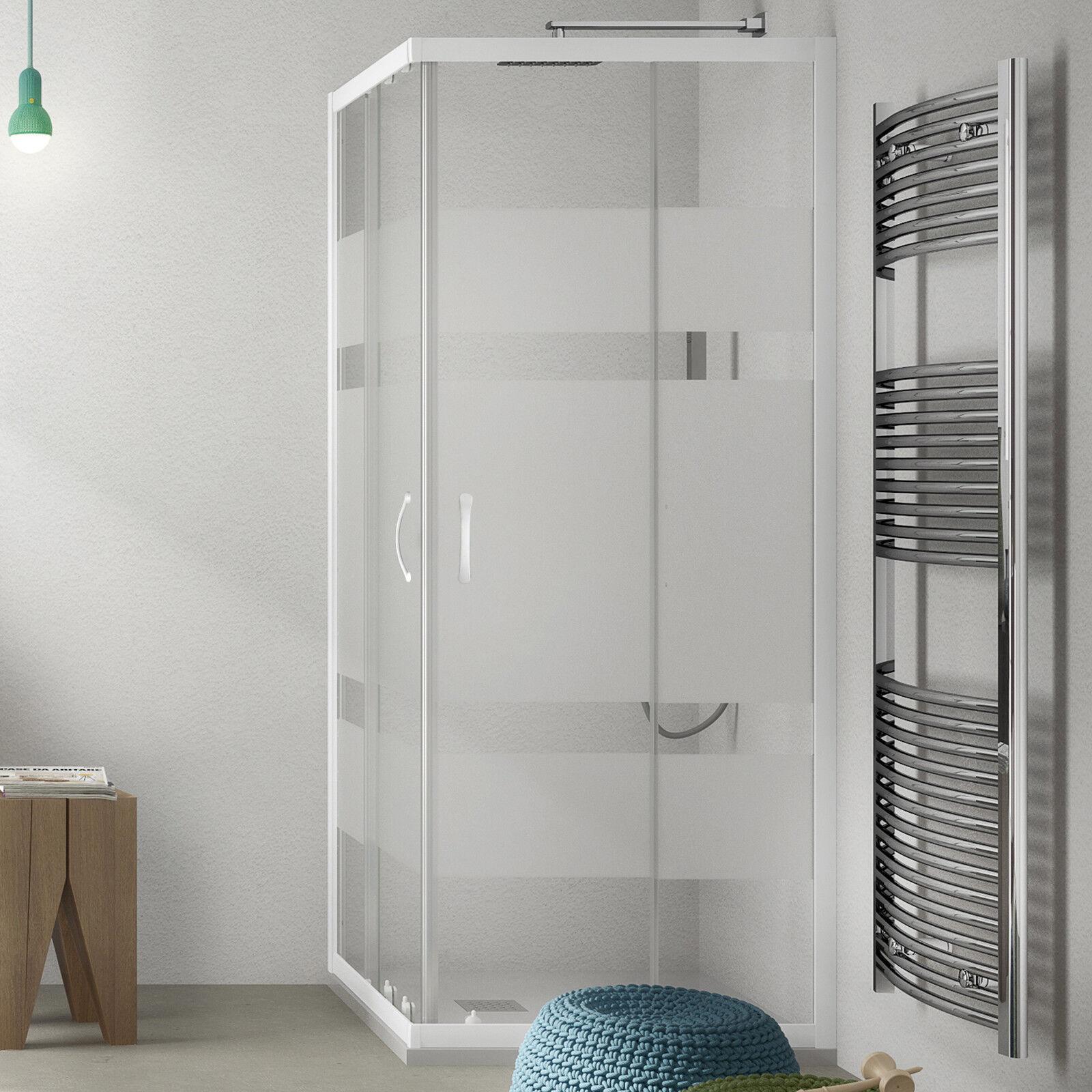 Box doccia 90x90 alluminio bianco cristallo serigrafato altezza 185h scorrevole