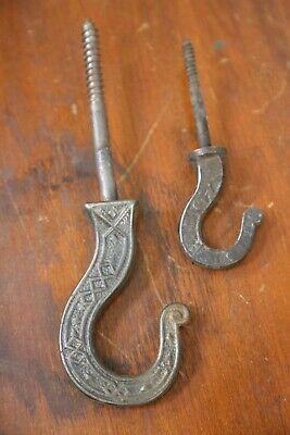 2 Vintage Industrial Cast Iron Hooks Antique Tools Wall Mount Hangers Salvaged