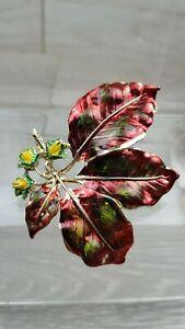 1950 Vintage Exquisite Red Green Enamel Beech Leaf Series Brooch Pin