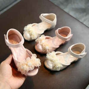 Toddler-Infant-Kids-Baby-Girls-Pearl-Floral-Party-Princess-Leather-Shoes-Sandals