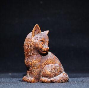 natural boxwood carving Lovely cat statue Japanese Netsuke decor figurine
