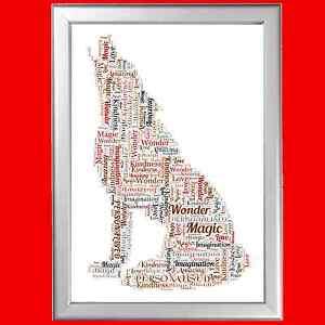 Personalizzata WOLF Word ART PRINT grande regalo per compleanno di una persona amata comporta uno  </span>