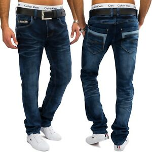 Uomo-Jeans-Stretch-Charly-Blu-Regular-Fit-Denim-Gamba-Diritta-scuro-pantaloni