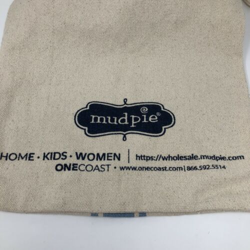 """Details about  /Mud Pie Shopping Tote Bag Beige Blue 2 Size Straps 15"""" Woven Canvas"""