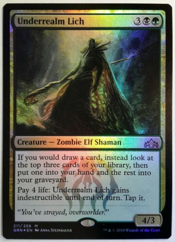 English 1 x MTG Underrealm Lich Guilds of Ravnica Mint//Near-Mint