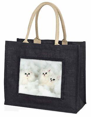 weiß Chinchilla Kätzchen große schwarze Einkaufstasche Weihnachtsgeschenk